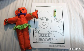 My poppet and colouring sheet.