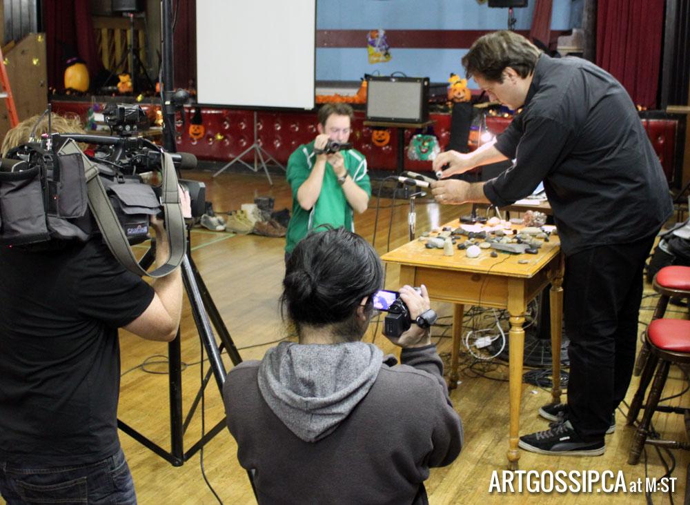 Matt Rogalsky performing and three video cameras